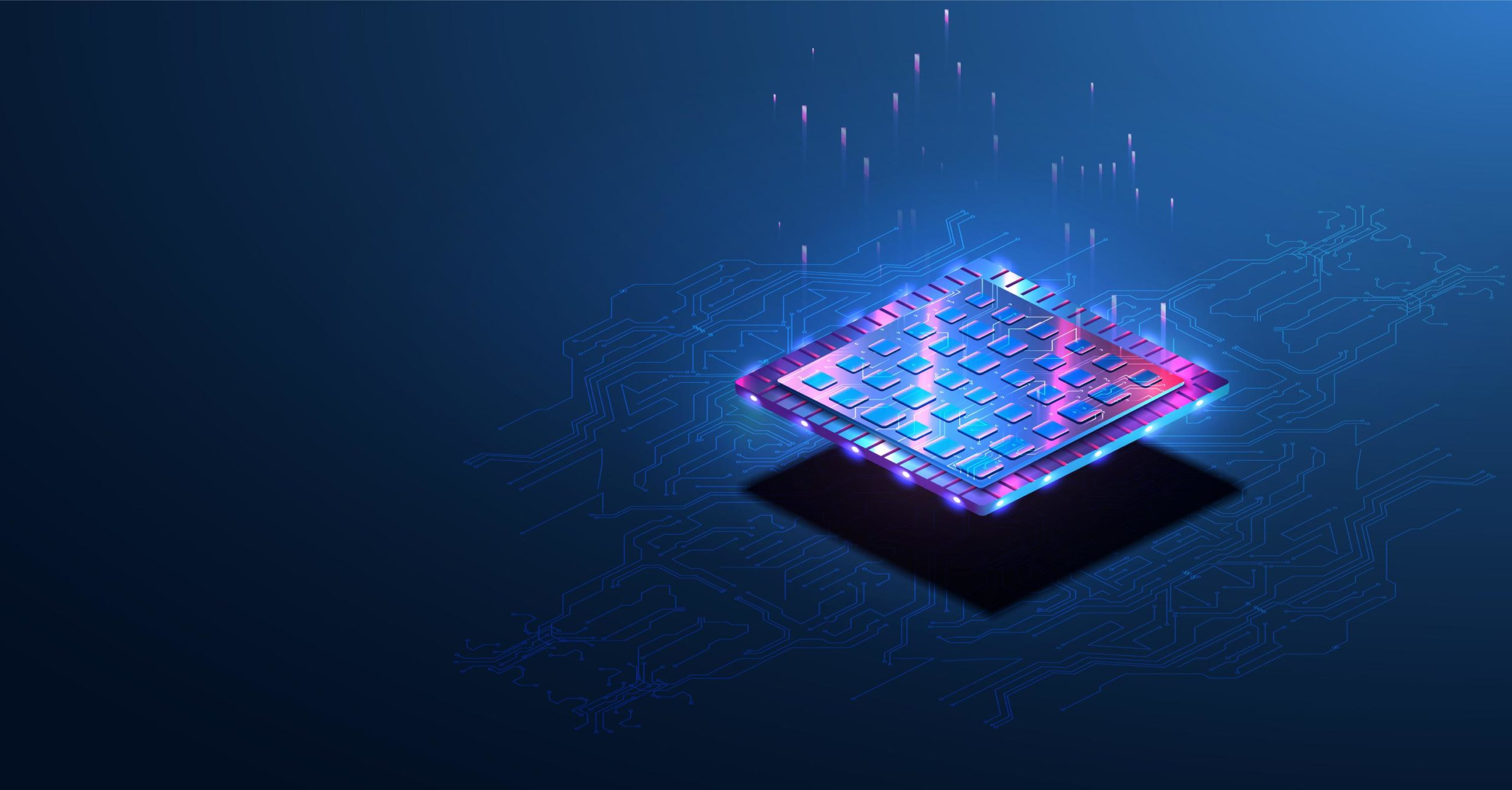 microchip hovering over a blue background